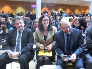 Gabriel, Malmström, Schulz im Willy-Brandt-Haus - Foto © Gerhard Hofmann, Agentur Zukunft