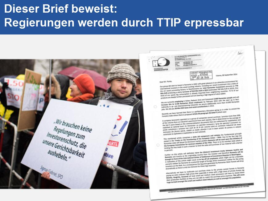 TTIP macht Regierungen erpressbar - Bild © Umweltinstitut München
